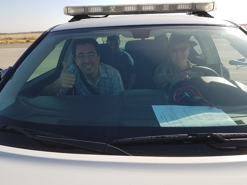 ACEPOL scientists and engineers in the chase car.