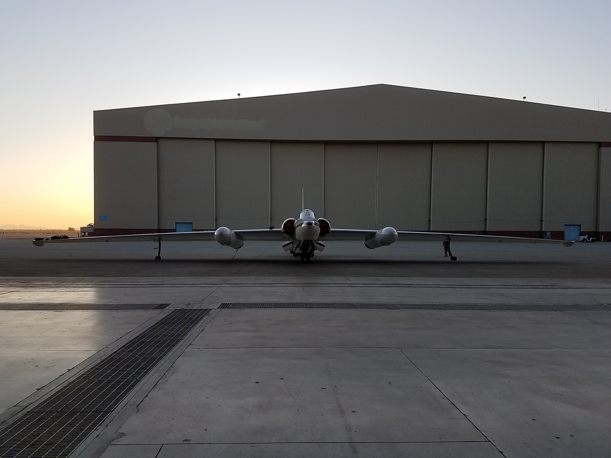 The ER-2 prepares to re-enter the hangar after a flight