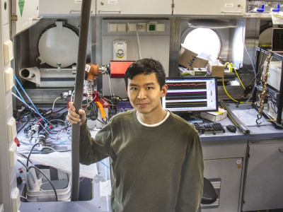 Seaver Wang supplies water to a mass spectrometer