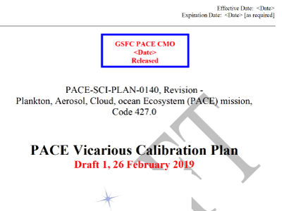 PACE Vicarious Calibration Plan