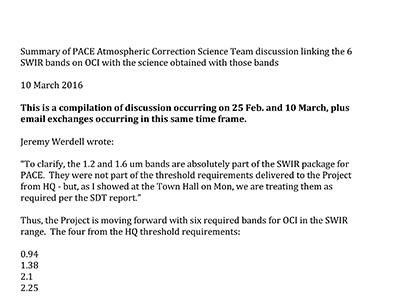 PACE Shortwave Infrared Bands Consensus Document