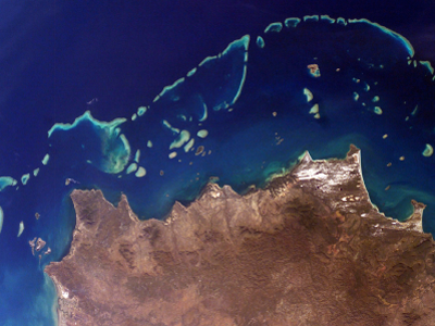Part of Australia's Great Barrier Reef, one of many reefs that NASA's COral Reef Airborne Laboratory (CORAL) field campaign will study. Credit: NASA