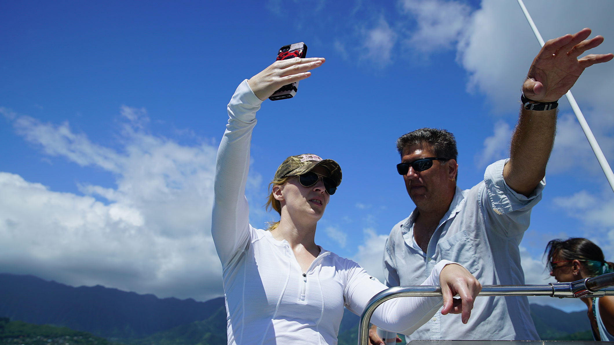 CORAL scientists identify reef locations at Kaneohe Bay (Oahu, Hawaii).
