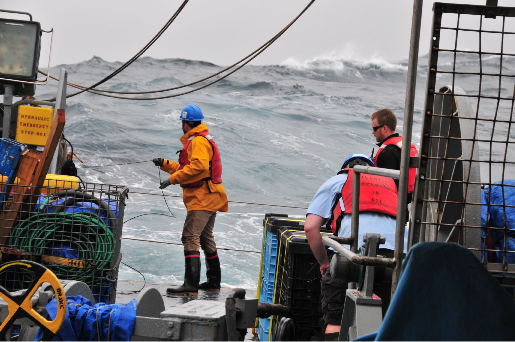 Sampling in the open ocean presents many challenges, including the threat of rough seas and inclement weather.