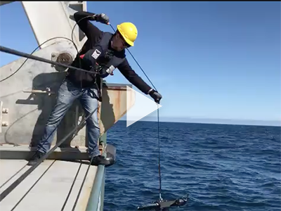 The HyperPro radiometer is deployed off the R/V Falkor. Credit: Schmidt Ocean Institute/Kirsten Carlson