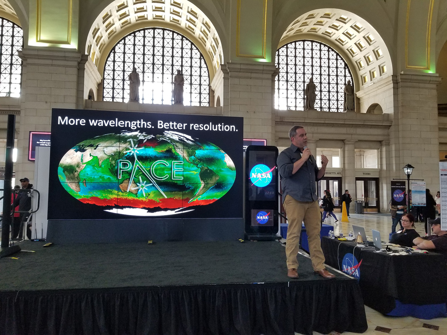 PACE Project Scientist Dr. Jeremy Werdell concludes a hyperwall talk that he presented for a public audience at the NASA Earth Day event in Washington, D.C.