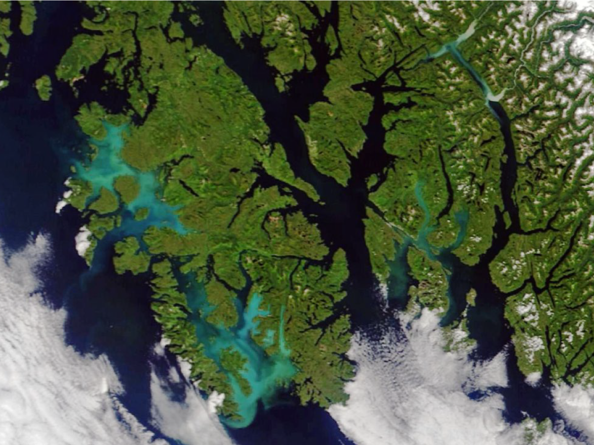 Satellite image of milky blue waters near Prince of Wales Island, AK