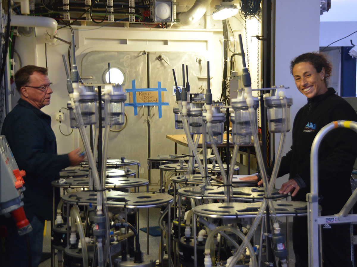 Steve Pike and Claudia Benitez-Nelson prepare filtration pumps for deployment