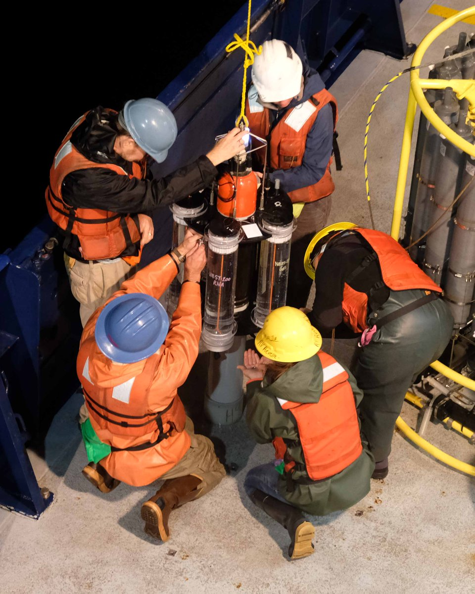 EXPORTS researchers delicately bring a Neutrally-Buoyant Sediment Trap onto the deck of the R/V <em>Roger Revelle</em>.