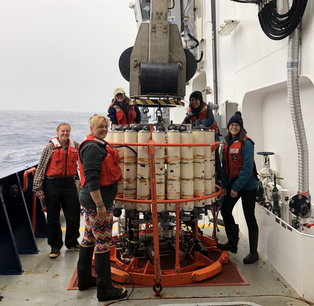 EXPORTS cruise scientists prepare to deploy a CTD rosette on the R/V <em>Sally Ride</em>.