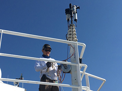 Ship-based radiometers (seen here attached to a deck rail) will collect hyperspectral data on ocean color during EXPORTS. The hyperspectral measurements will be similar to those that will be used aboard the PACE mission. Credit: NASA