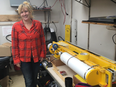 Dr. Melissa Omand (University of Rhode Island) assembles a wirewalker, an autonomous platform that will be used to collect high frequency data on ocean physics, chemistry and biology during the EXPORTS cruise. Credit: NASA