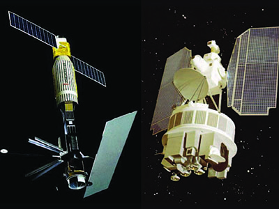 SeaSat (left) only operated for 110 days but served as a proof of concept for several types of ocean sensors, including those that monitor winds, currents, and sea level. Nimbus-7 (right) included the Coastal Zone Color Scanner (CZCS), which proved that ocean color could be measured from space.