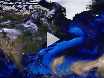 This visualization follows sea salt, dust, and smoke from July 31 to November 1, 2017, to reveal how these particles are transported across the map. This visualization is a result of combining NASA satellite data with mathematical models that describe the underlying physical processes.