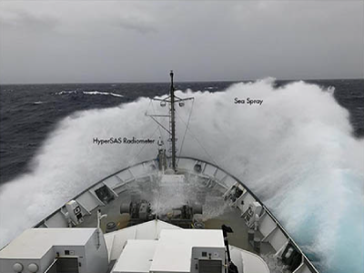 Waves crash over the bow of the R/V Falkor