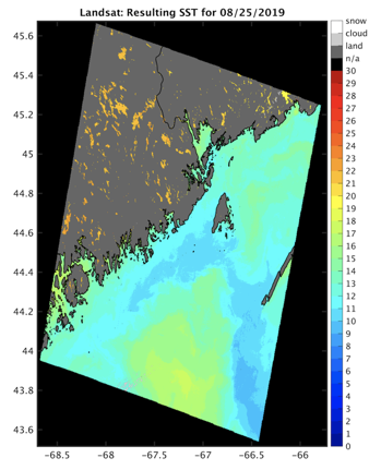 Sea surface temperature based on Landsat data along the northern Maine coast