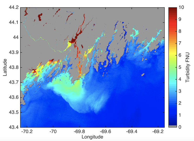 Map of the turbidity of ocean, coastal and inland waters derived from Landsat data