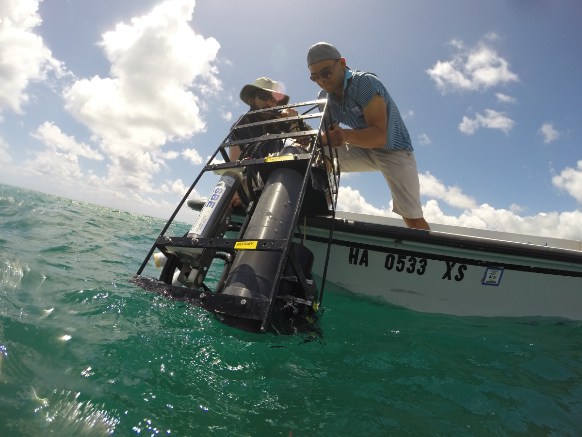 A package of instruments is deployed during the CORAL field campaign