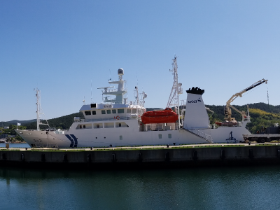 The R/V <em>Onnuri</em> awaits its crew and cargo before setting off on the KORUS-OC field campaign. Credit: Ivona Cetinic