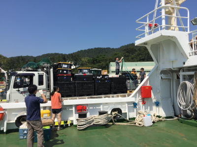Readying KORUS-OC equipment for transfer to the research vessel. Credit: Joaquim Goes