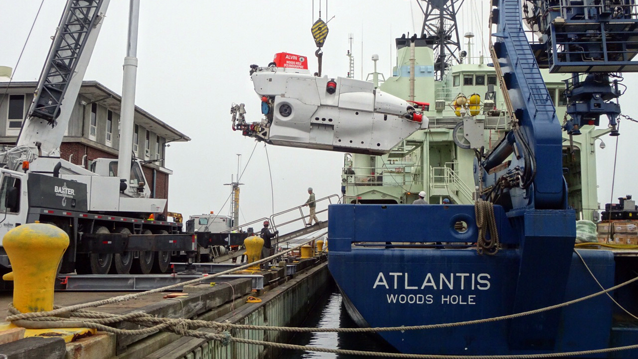 The R/V <em>Atlantis</em> during off-load of the submersible Alvin as the ship prepares for its second NAAMES field campaign.