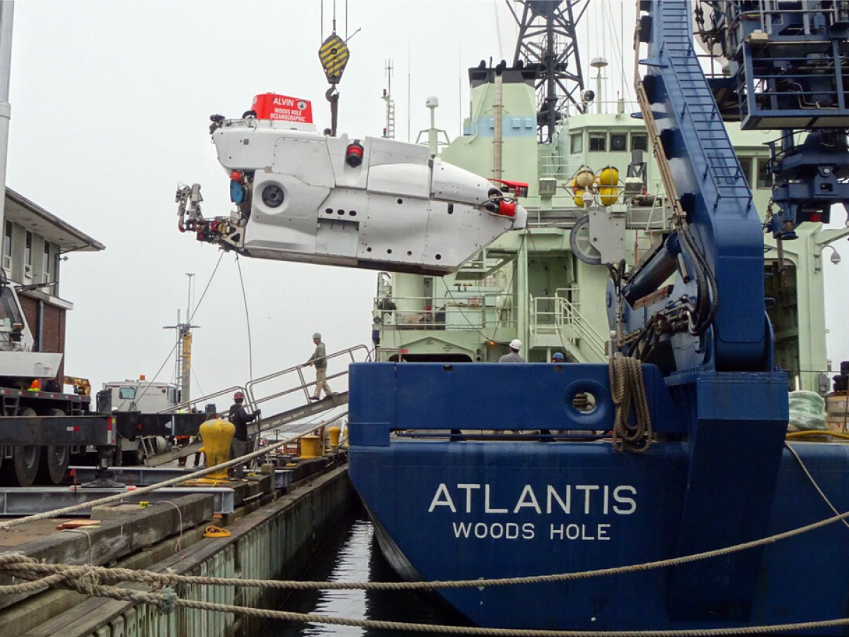 The R/V Atlantis during off-load of the submersible Alvin