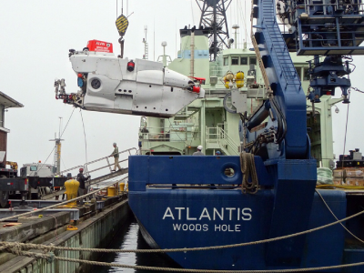 The R/V <em>Atlantis</em> during off-load of the submersible Alvin as the ship prepares for its second NAAMES field campaign. Credit: Dick Pittenger/WHOI