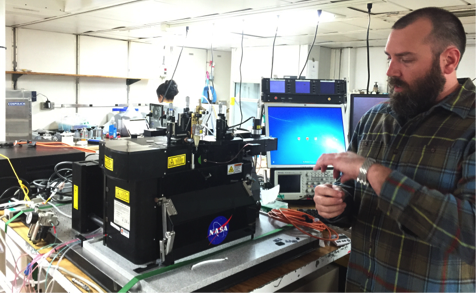 Jason Graff (Oregon State University) measures carbon with a laser-based instrument that sorts phytoplankton species.