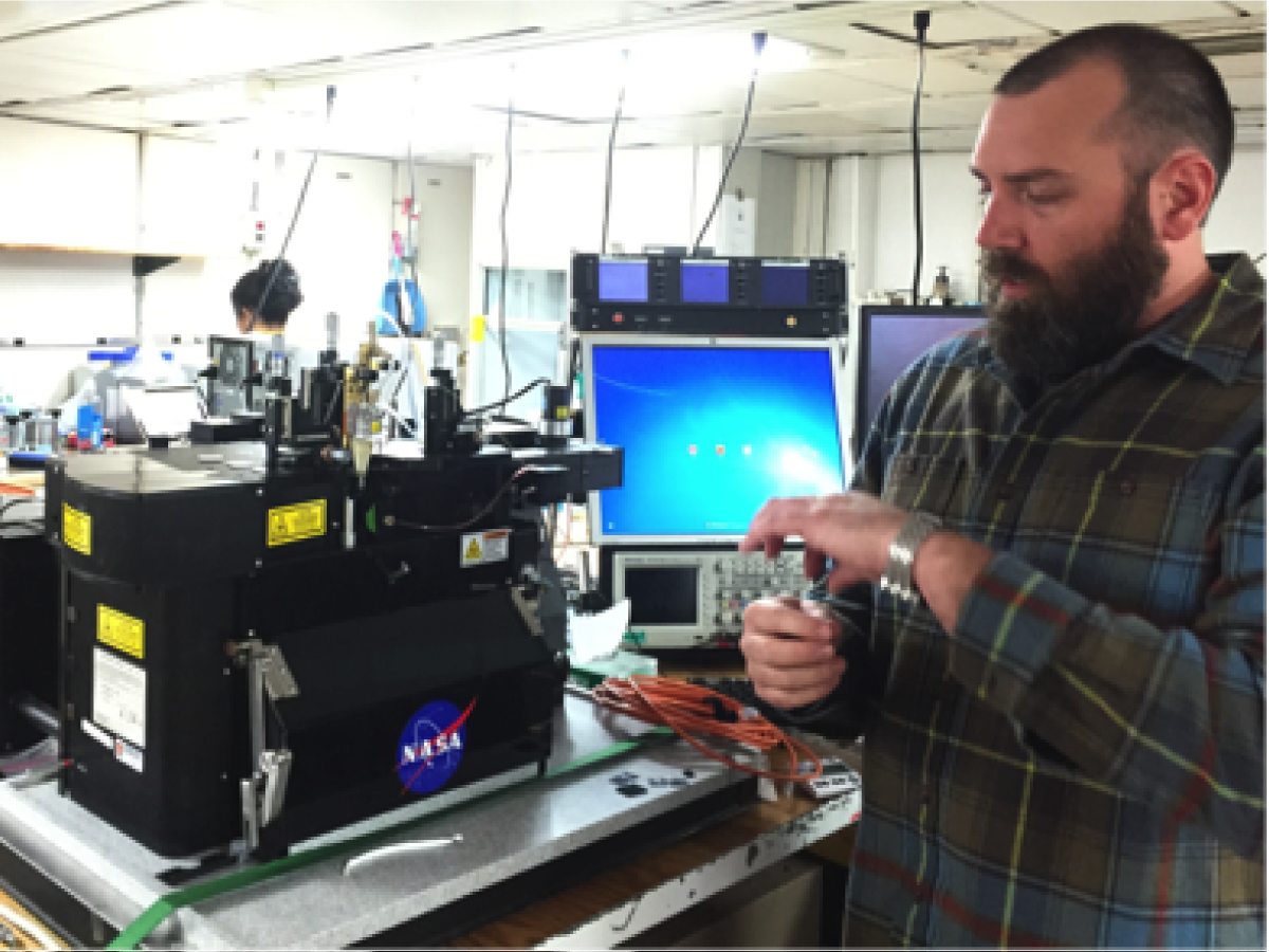 Jason Graff (OSU) measures the carbon in phytoplankton and sorts species with a laser-based instrument