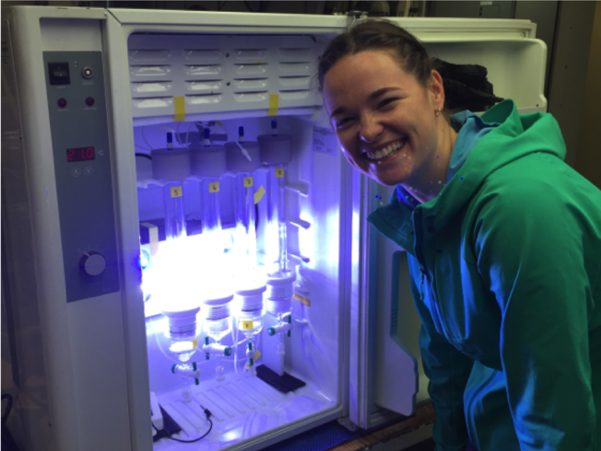 Cleo Davie-Martin (OSU) measures volatile organic compounds emitted by phytoplankton