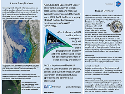 A brochure featuring the PACE mission. Credit: NASA Ocean