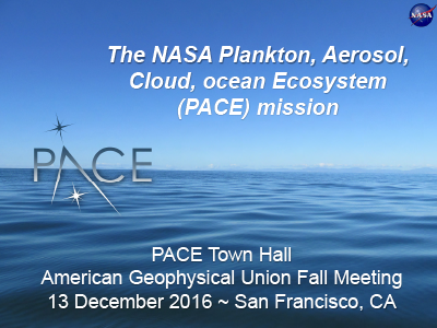 PACE Town Hall at AGU Fall Meeting