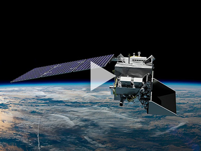 This rendering shows a flyby of a model of the PACE spacecraft as it orbits Earth.