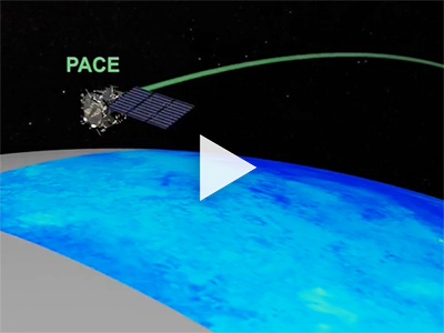 "PACE in orbit. Credit: <a href=""http://svs.gsfc.nasa.gov/4700"">NASA Scientific Visualization Studio</a>"