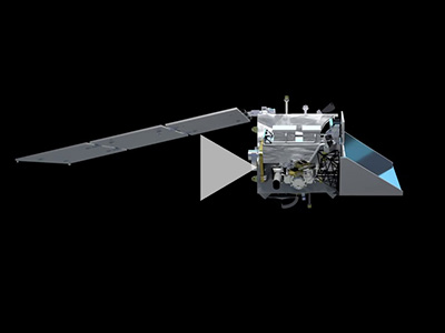 In this animation, a digital model of the PACE spacecraft is shown rotating on a blank background. Credit: NASA's Conceptual Image Laboratory