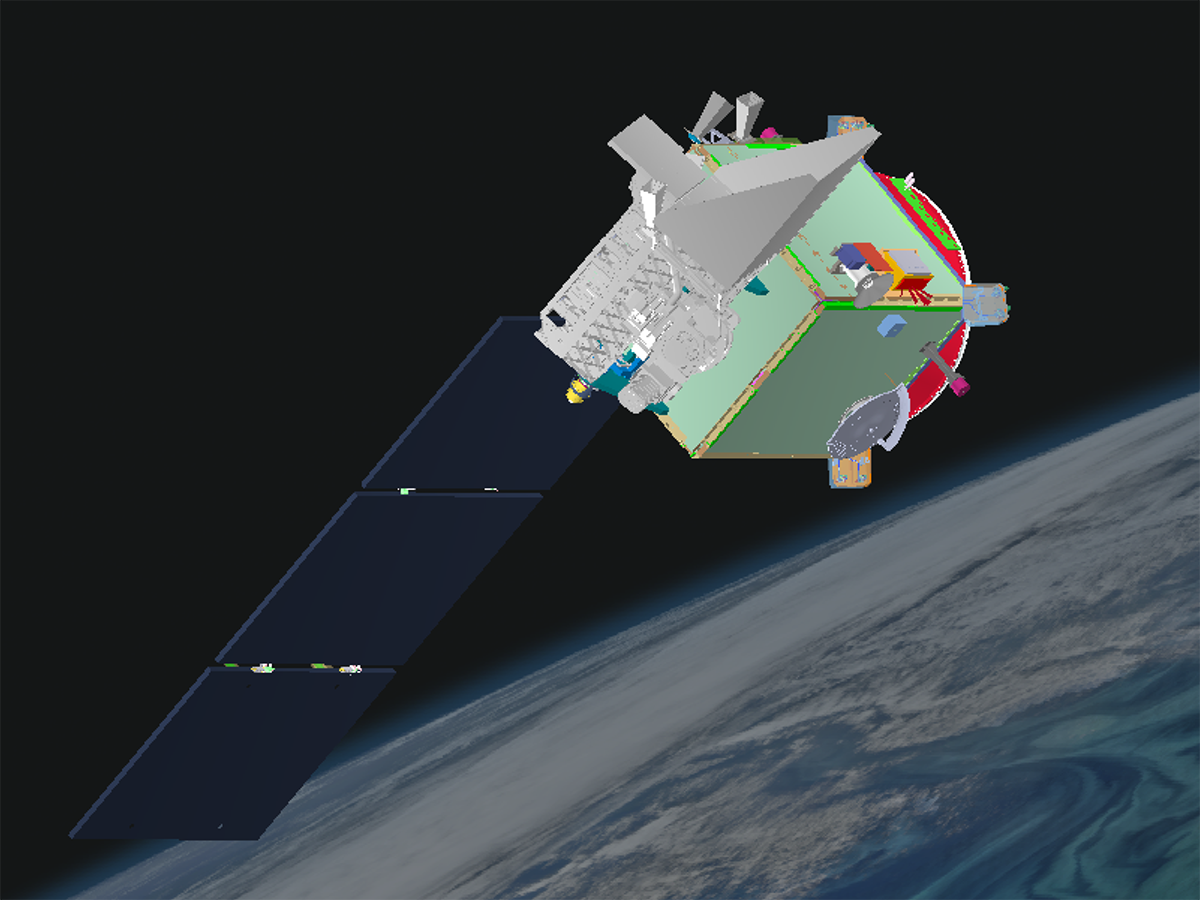 A graphic rendering of the PACE Observatory, with solar panels deployed.