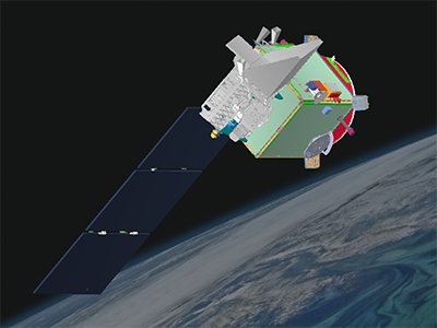 A graphic rendering of the PACE Observatory, with solar panels deployed. Credit: NASA/GSFC