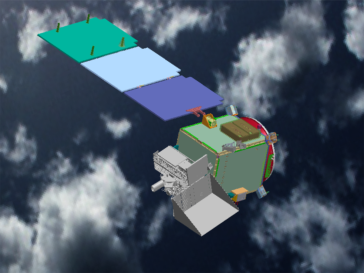 The PACE Observatory from above, with solar panels deployed.