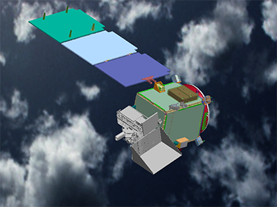 The PACE Observatory from above, with solar panels deployed. Credit: NASA/GSFC