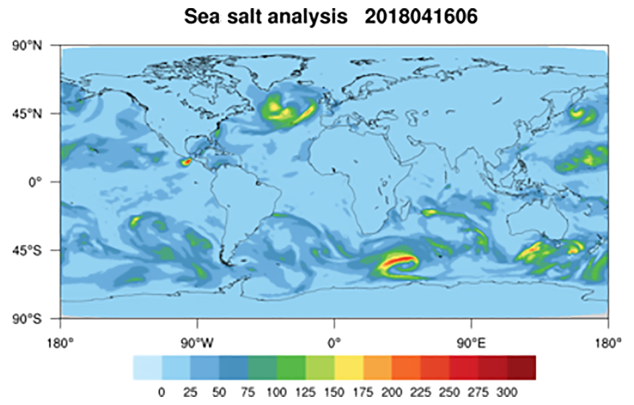 Global sea salt concentration from NOAA aerosol reanalysis and forecasting model
