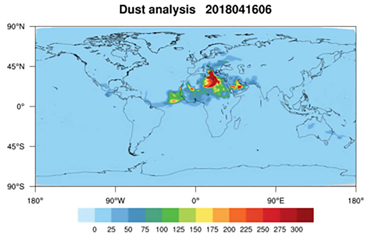Global dust concentration from NOAA aerosol reanalysis and forecasting model