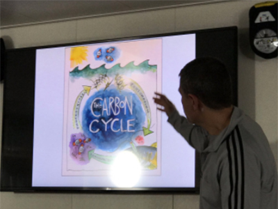 Dr. Antonio Mannino gives a talk on the R/V <em>Falkor</em>. The image on screen that depicts the carbon cycle was produced by the artist in residence. Credit: Kirsten Carlson
