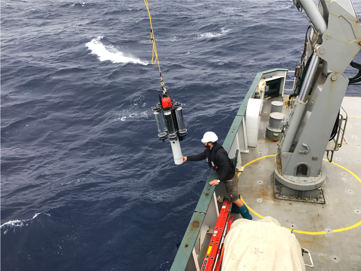 Philipp Guenther retrieves sediment traps in heavy seas