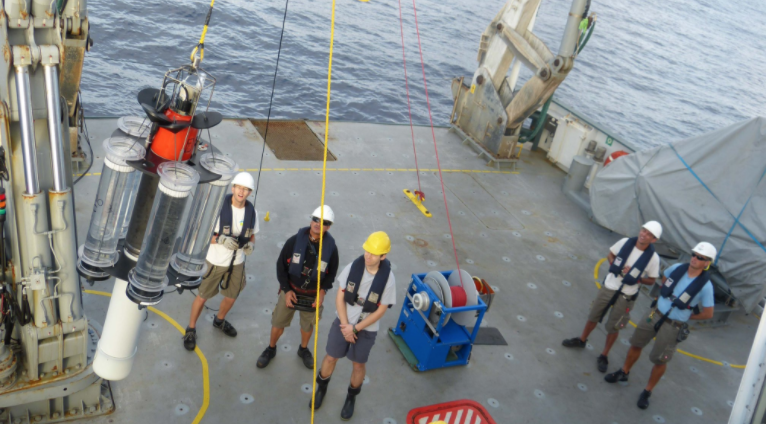 Researchers deploy a neutrally buoyant sediment trap to measure carbon-containing particles sinking out of the surface and into deep ocean.