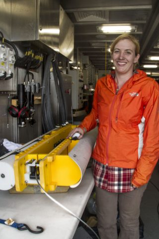 Melissa Omand will work with her shipmates to analyze data collected by the Wirewalker. These measurements will be used to understand how carbon moves within the ocean.