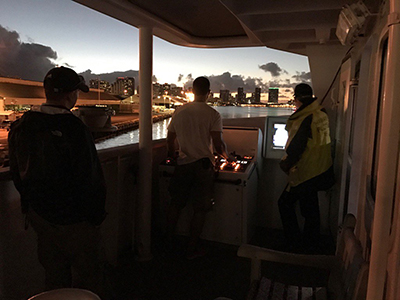 The R/V Falkor departs Honolulu