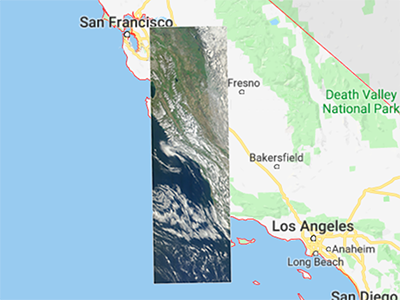 The first SeaHawk image, captured by the HawkEye sensor on March 21, 2019 from an altitude of 588 km, superimposed on a map of California. Credit: NASA GSFC