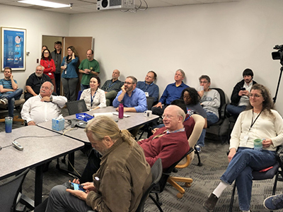 Researchers and engineers at Goddard Space Flight Center gather with anticipation to watch the countdown to the SSO-A mission launch. Credit: NASA/GSFC