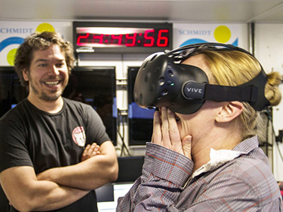 Melissa Omand reacts to the first Virtual Reality experience created on board R/V Falkor